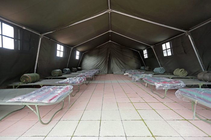 Tent Shelter With Temporary Beds Ready for Disaster Refuges