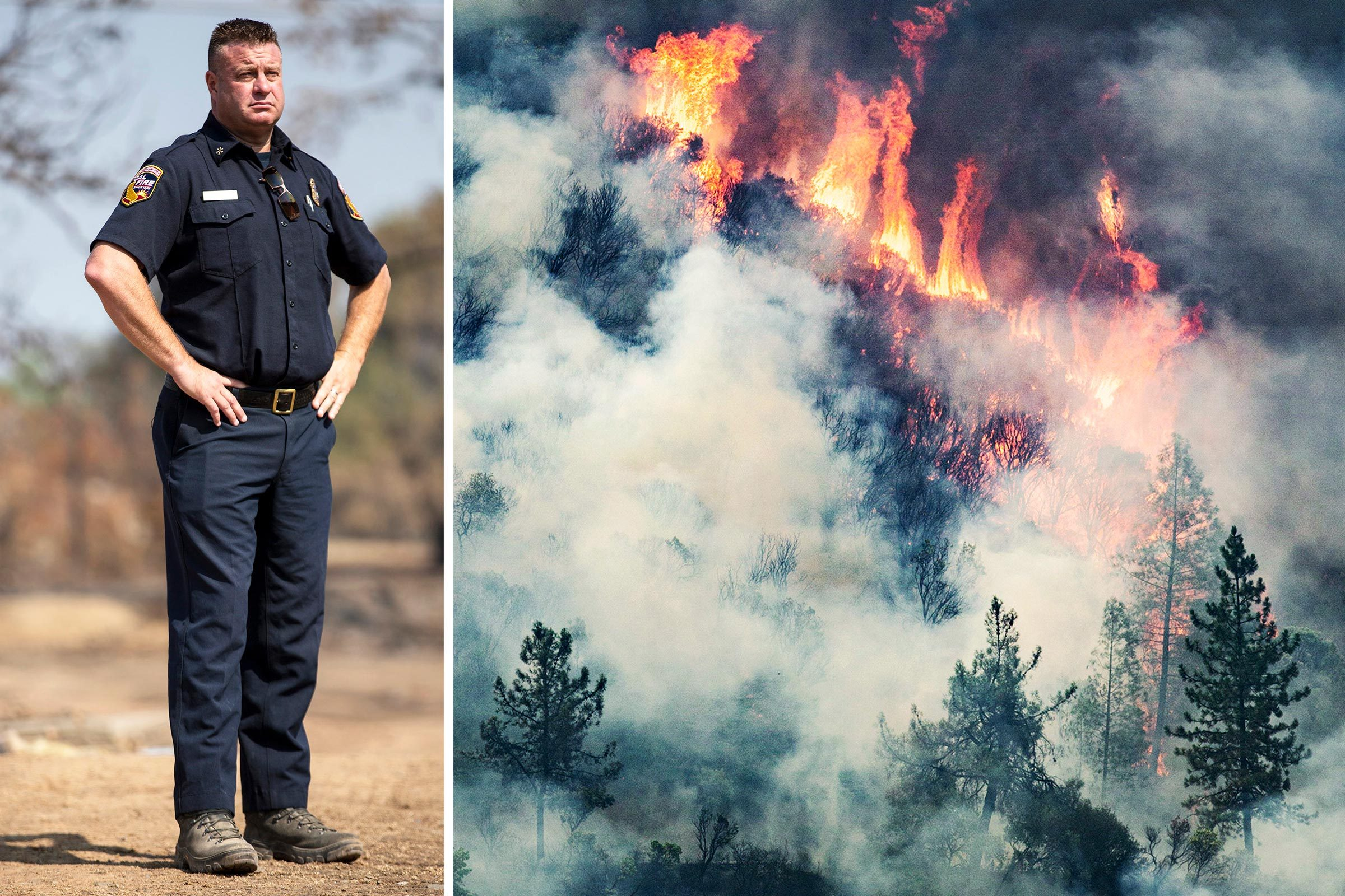 Incident Commander Tom Lubas splitscreen Carr Fire smoke and flames engulf trees