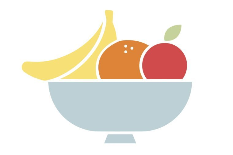 stylized minimal bowl of fruit
