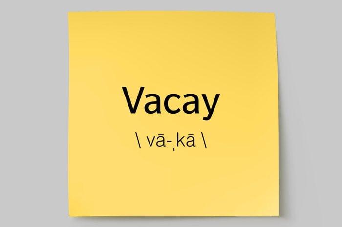 vacay sticky note