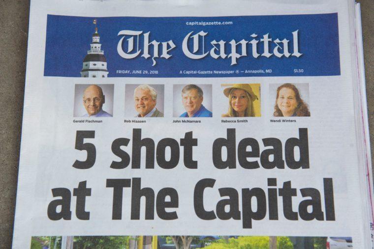 Aftermath of shooting at Capital Gazette newspaper, Annapolis, USA - 29 Jun 2018