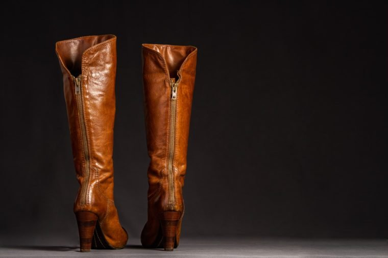 Close up of beautiful, stylish leather boots.