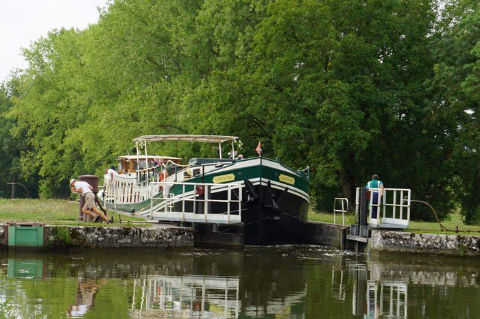 Burgundy Saroche Boat