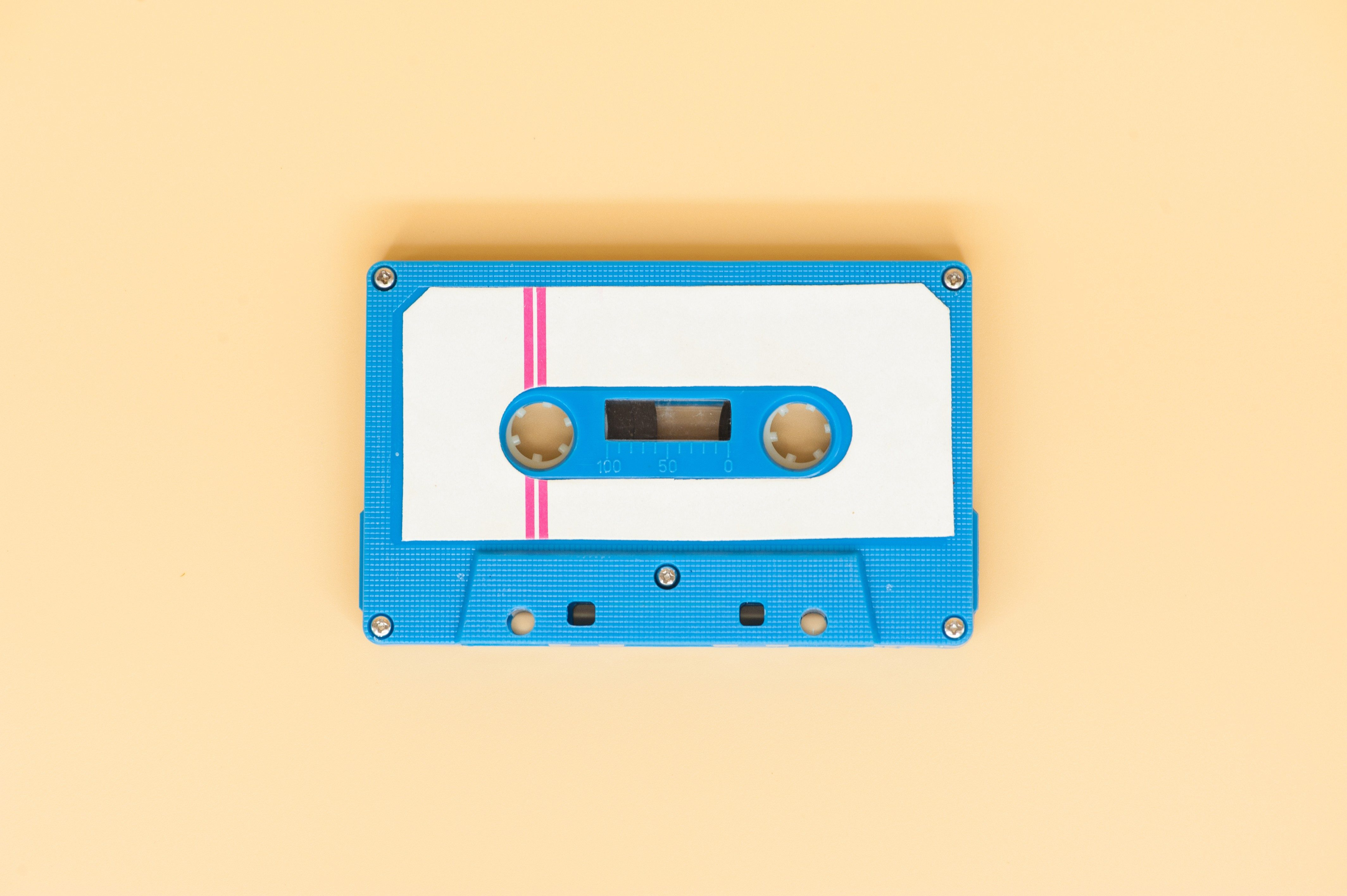 close up of vintage audio old tape cassette.