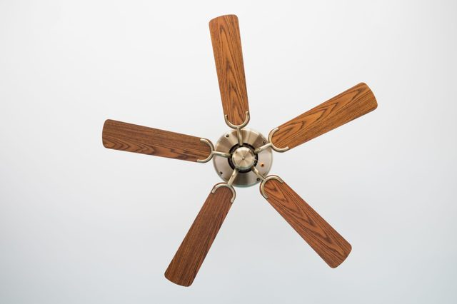 Electric ceiling fan,Picture of wooden ceiling fan inside the living room.
