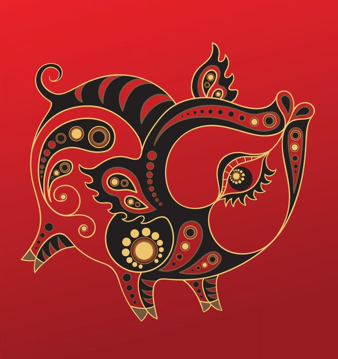 Pig - Chinese horoscope animal sign. The vector art image in decorative style.