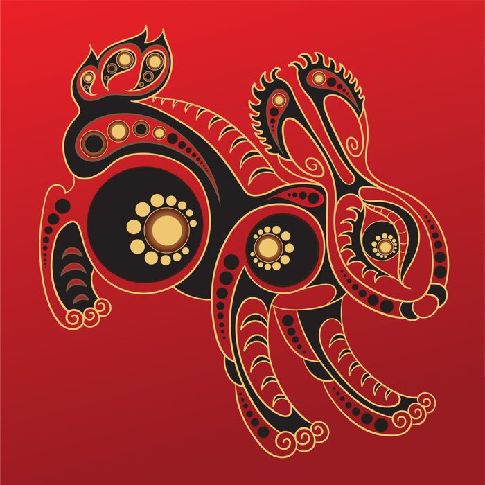Rabbit - Chinese horoscope animal sign. The vector art image in decorative style