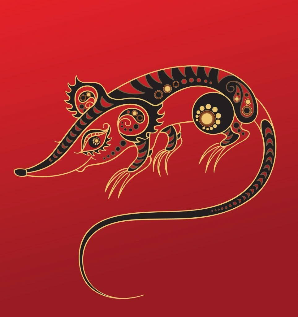 Rat - Chinese horoscope animal sign. The vector art image in decorative style.