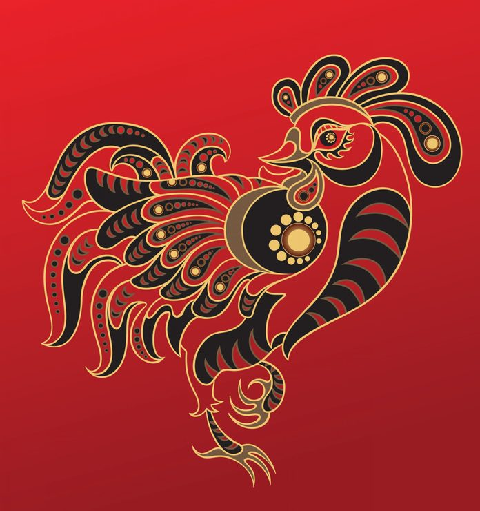 Rooster - Chinese horoscope animal sign. The vector art image in decorative style