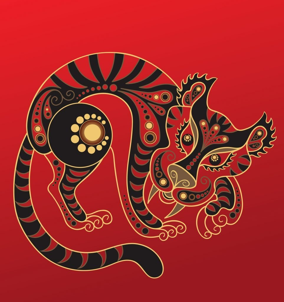 Tiger - Chinese horoscope animal sign. The vector art image in decorative style
