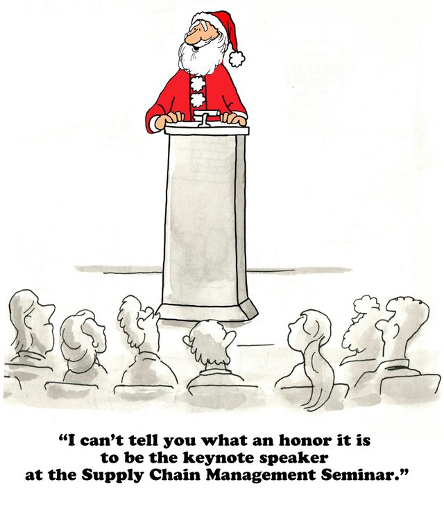 Christmas cartoon about Santa speaking at the Supply Chain seminar.