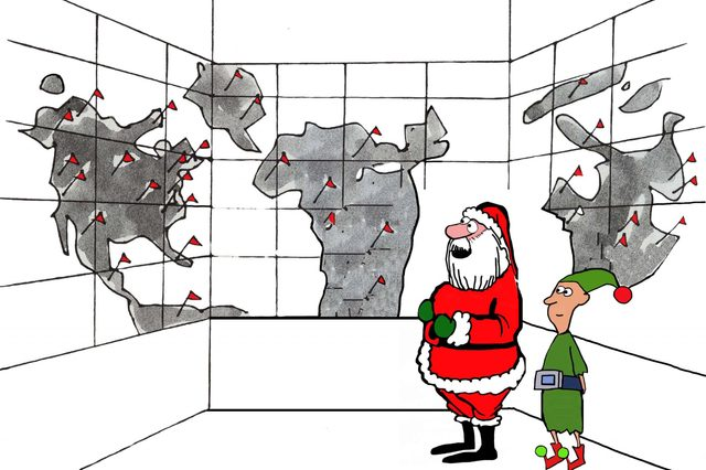 "Christmas holiday cartoon showing Santa Claus and an elf looking at a worldwide map. Santa says, ""I love these new regional distribution centers""."