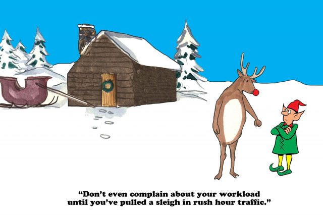 Christmas cartoon where the red nosed reindeer and an elf are comparing workloads.