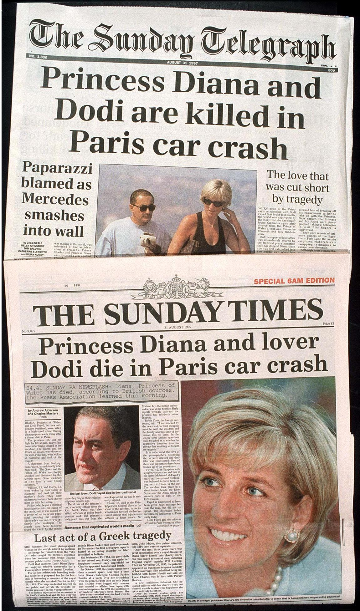 DEATH OF PRINCESS DIANA AND DODI AL FAYED AS REPORTED ON THE FRONT COVERS OF NEWSPAPERS - SEP 1997