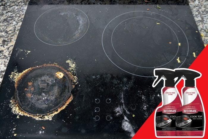 glass stove top debris