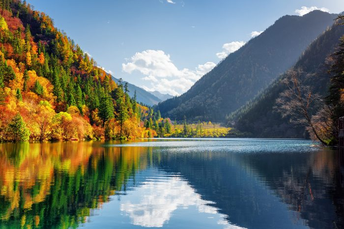 Amazing view of the Panda Lake among colorful fall forest at the Rize Valley in Jiuzhaigou nature reserve (Jiuzhai Valley National Park), China. Scenic wooded mountains and blue sky reflected in water