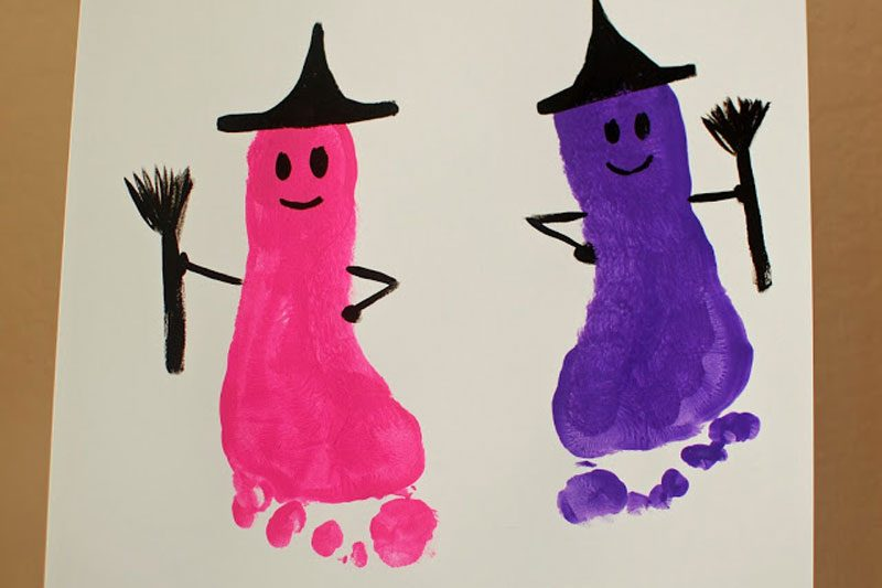 feet painting hallowen craft idea for kids
