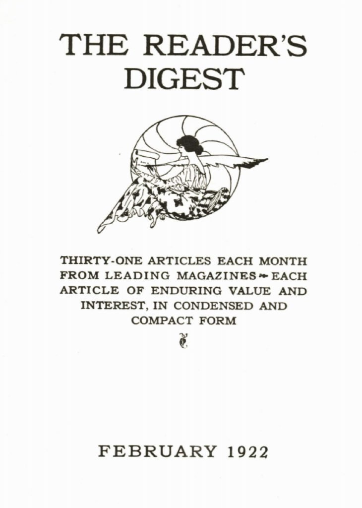 reader's digest first issue cover