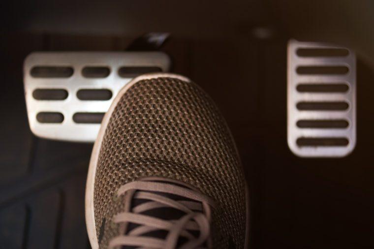 Stop car theme. Shoe press break car pedal