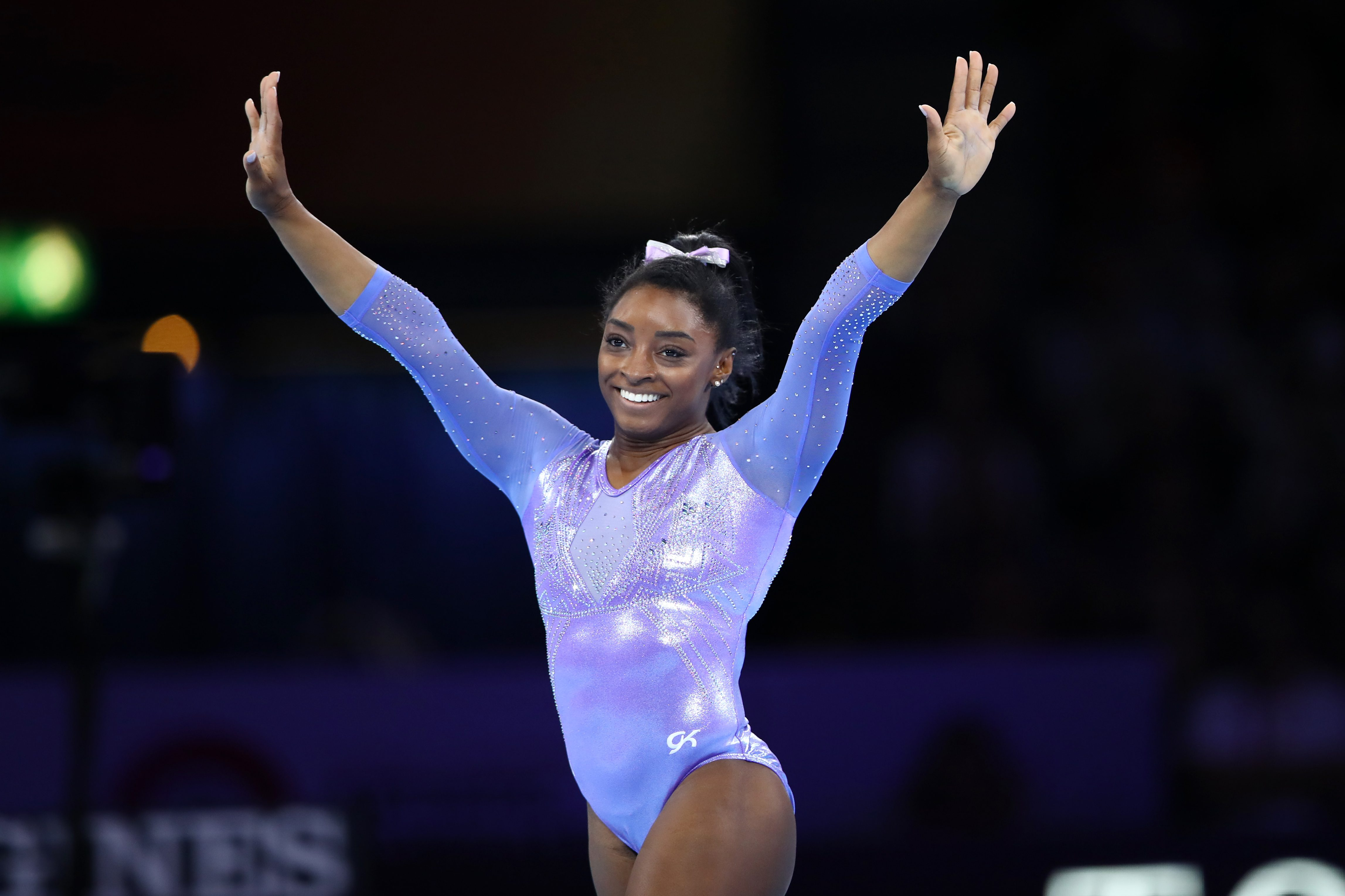 Mandatory Credit: Photo by Aflo/Shutterstock (10443602cx) Simone Biles (USA) - Artistic Gymnastics : The 2019 Artistic Gymnastics World Championships, Women's Apparatus Finals Floor Exercise at Hanns-Martin-Schleyer-Halle in Stuttgart, Germany. Gymnastics World Championships, Day 10, Stuttgart, Germany - 13 Oct 2019