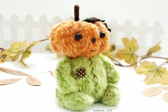 hand knitted pumpkin toy