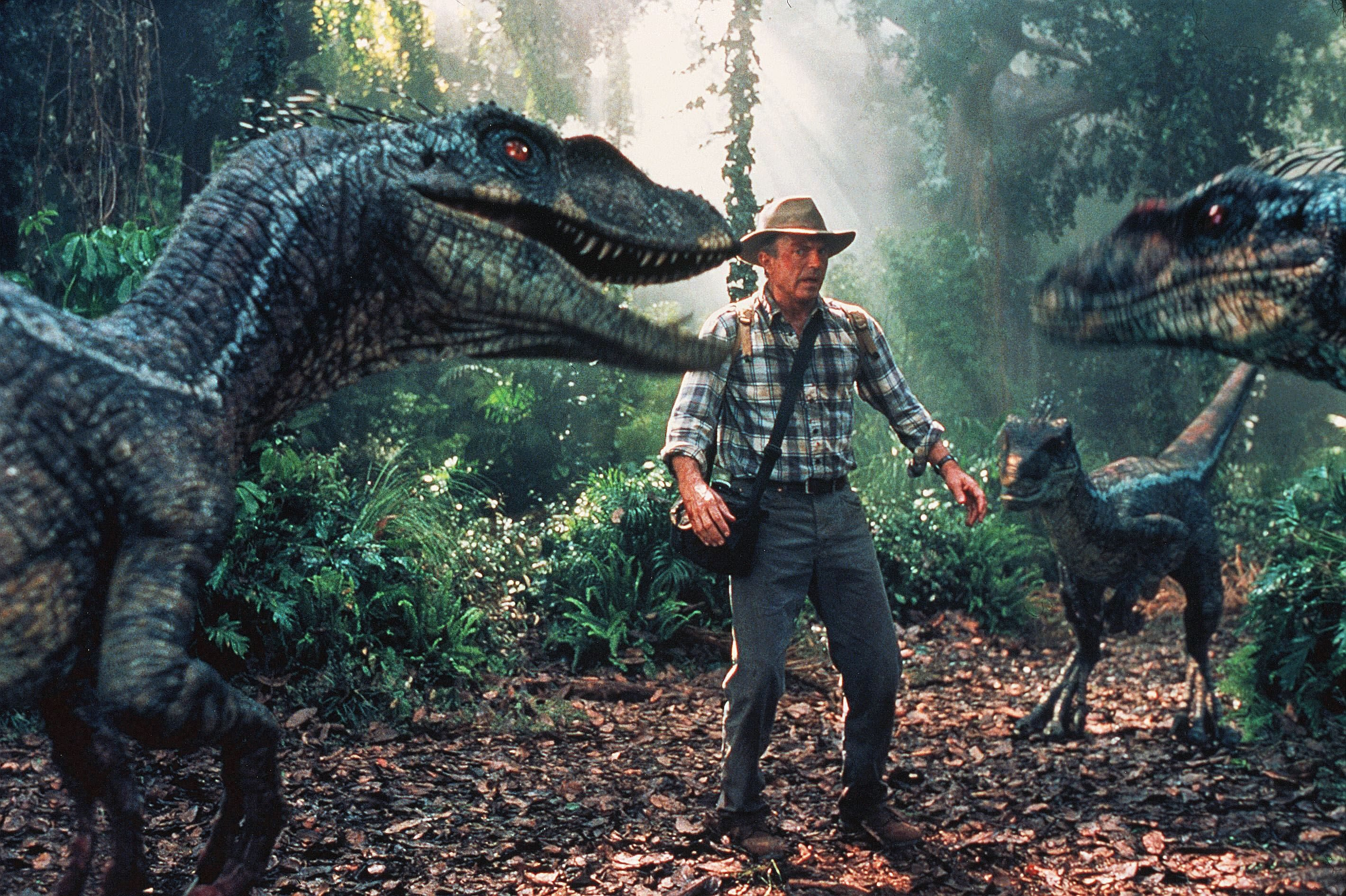 Editorial use only. No book cover usage. Mandatory Credit: Photo by ILM/Amblin/Universal/Kobal/Shutterstock (5879920f) Sam Neill Jurassic Park III - 2001 Director: Joe Johnston Amblin/Universal USA Scene Still Scifi Jurassic Park 3