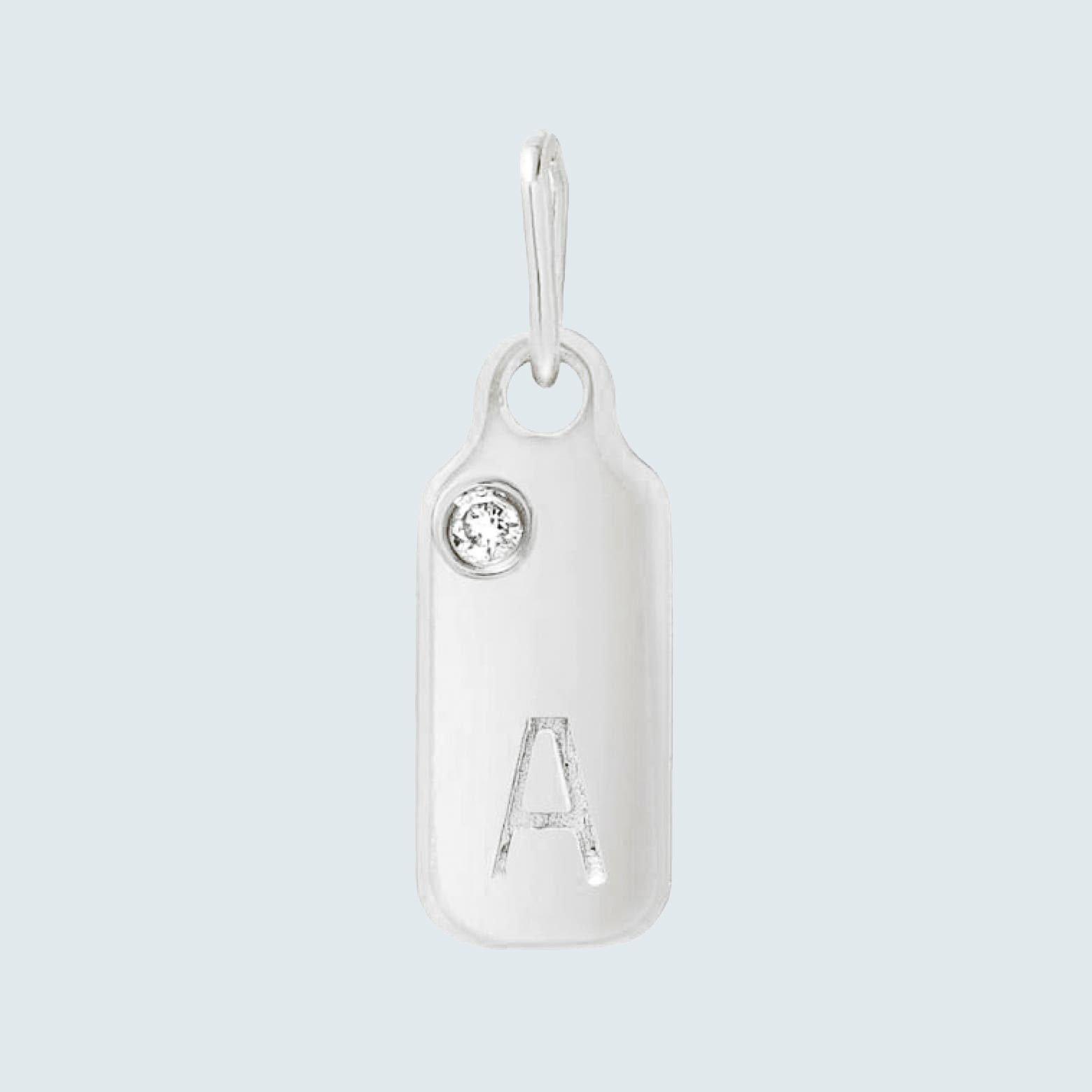 Mini Mini Diamond Initial Dog Tag