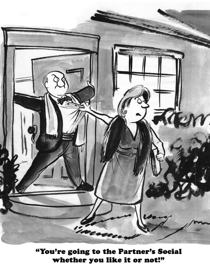 Law cartoon about a man not wanting to go to the partners' social event.