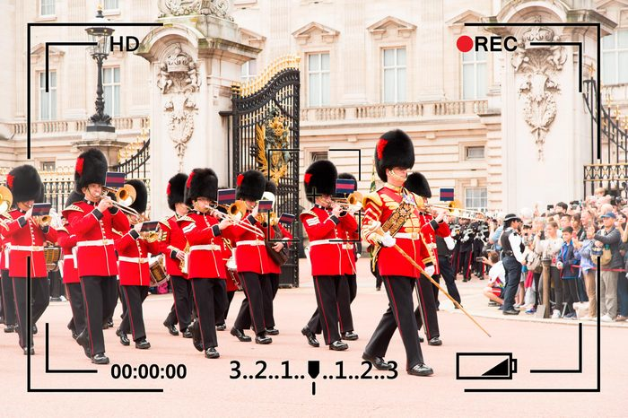LONDON - JUNE 25 2016: British Royal guards perform the Changing of the Guard in Buckingham Palace. Queen's Guard change is one of the major tourist attractions in England.