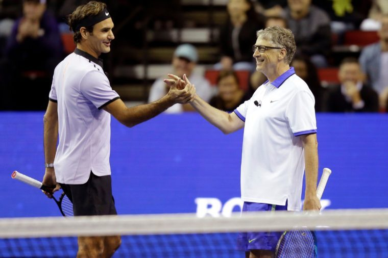 Bill Gates with Roger Federer, 2017