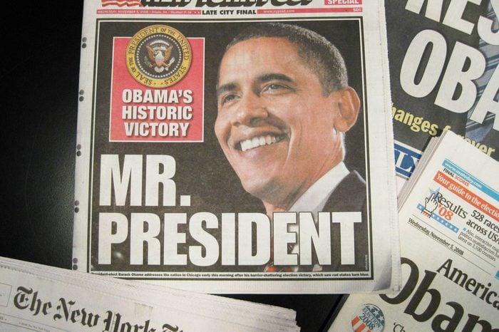 Newspaper Headlines covering Barack Obama's Presidential Election Victory, America - 05 Nov 2008