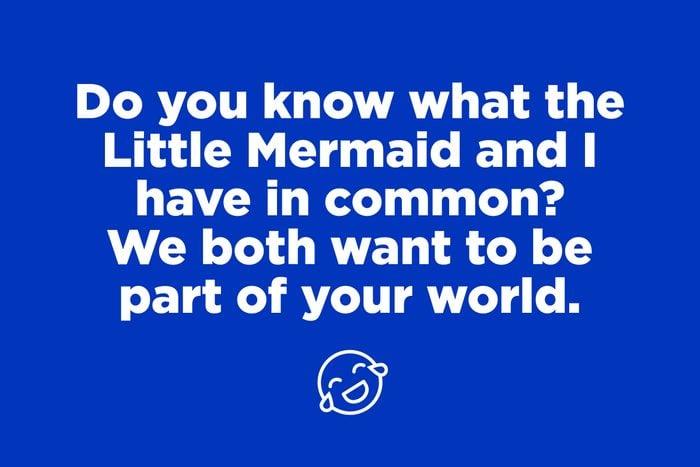 Little Mermaid pickup line on blue