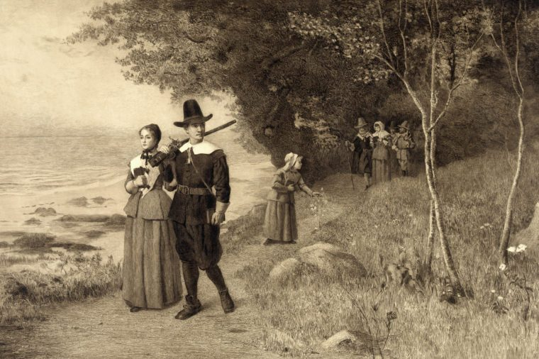 Thanksgiving, Pilgrims holding bibles, ca 1800s.