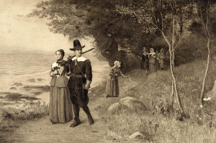 Thanksgiving, Pilgrims holding bibles, ca 1800s.