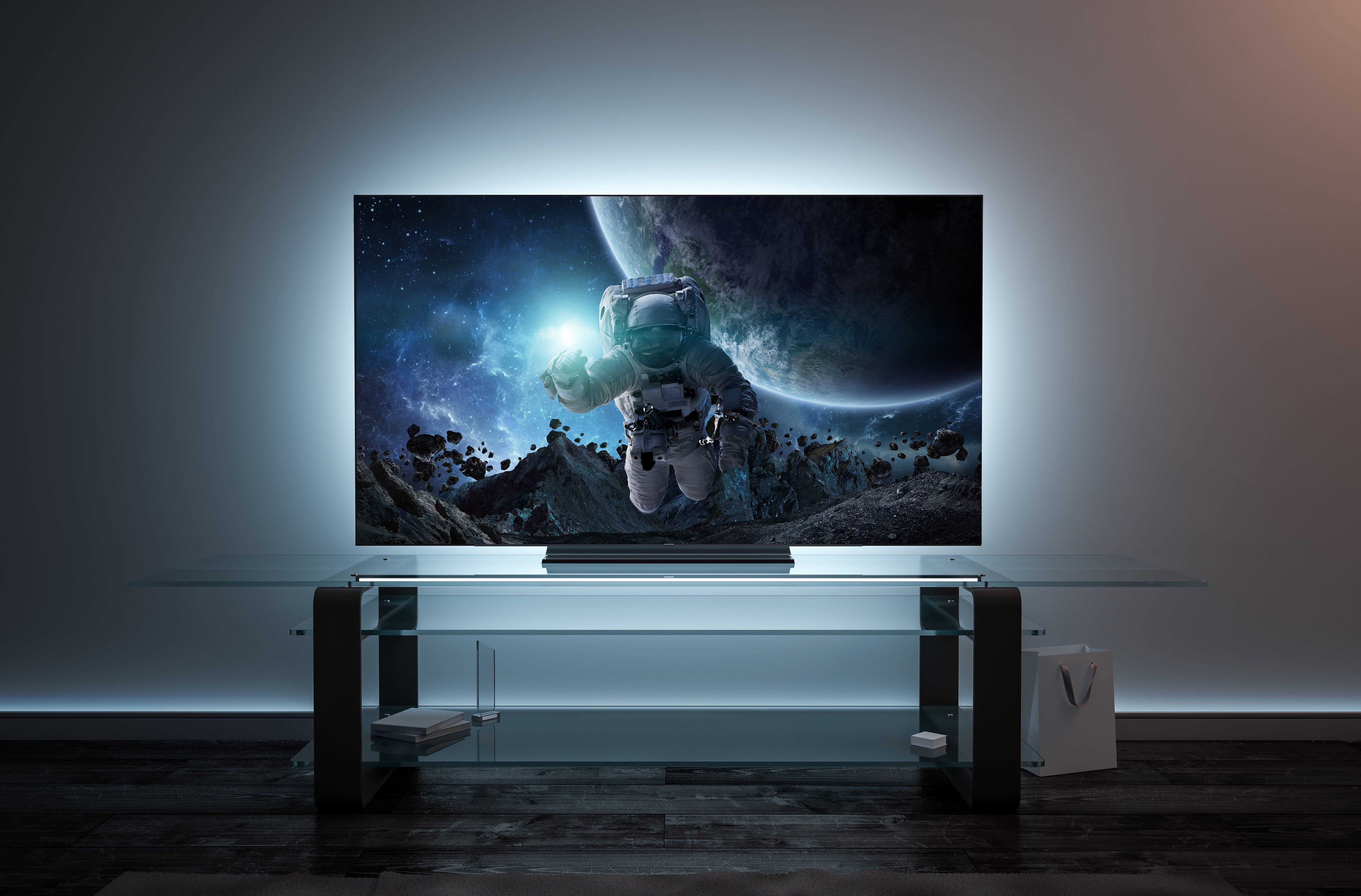 scifi movie on tv Blank white tv screen interior in darkness mockup, front view, 3d rendering. Empty telly plasma mokcup display in living room mock up. Clear smart panel monitor mokc on glass shelf template.; Shutterstock ID 1290402403; Job (TFH, TOH, RD, BNB, CWM, CM): RD