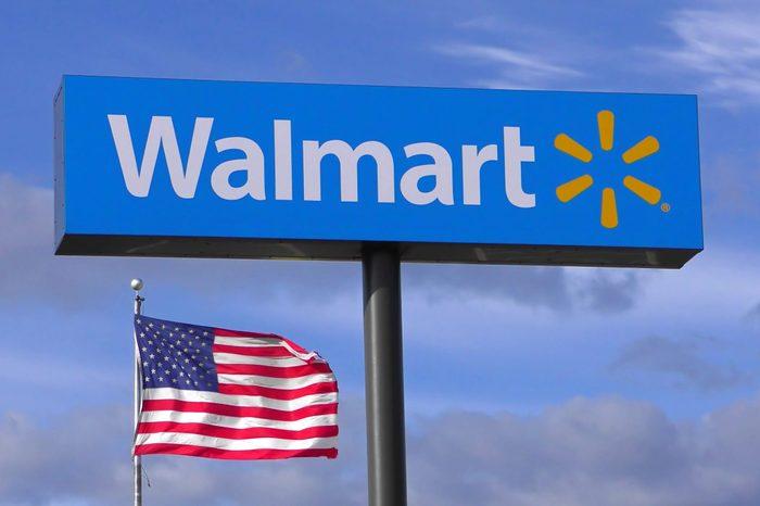 Walmart store highway sign