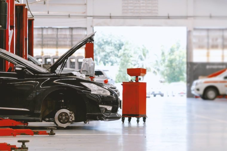 car repair station with soft-focus and over light in the background