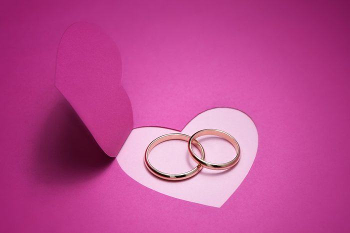Wedding background for design with gold rings