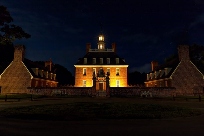 Williamsburg, Virginia / United States – July 20, 2018: Evening at the Governor's Palace in Colonial Williamsburg.