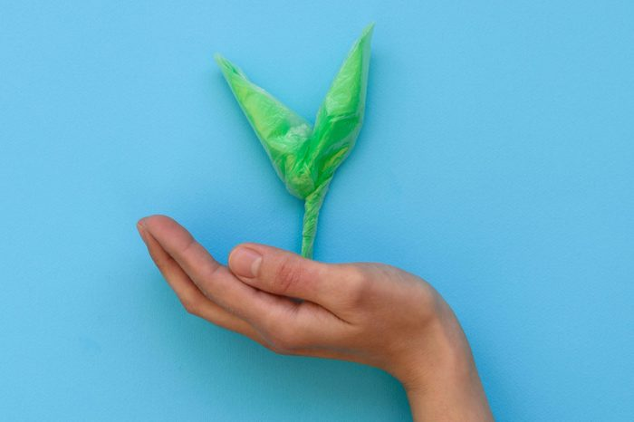 Hand holding green sprout made from plastic disposable packages on blue background. Save the world, creative, environment pollution or World Earth Day concept. Top view