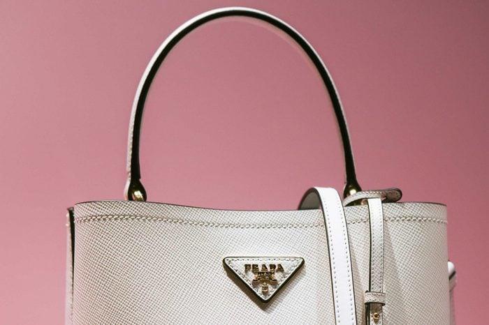 Milan, Italy – February 22, 2019: Prada leather handbag in a luxury store in Milan, February 2019.