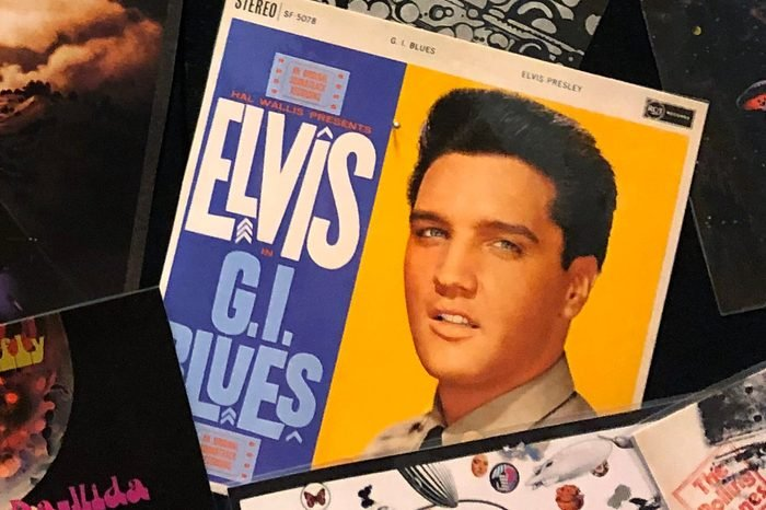 Malmö, Sweden - August 18, 2019: Vinyl Records Featuring Famous Rock and jazz Albums. Elvis, Frank Sinatra, Boston and Bob Dylan among others