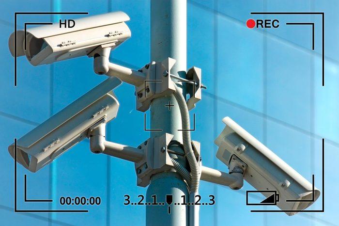 close up on cctv cameras surveillance in a city