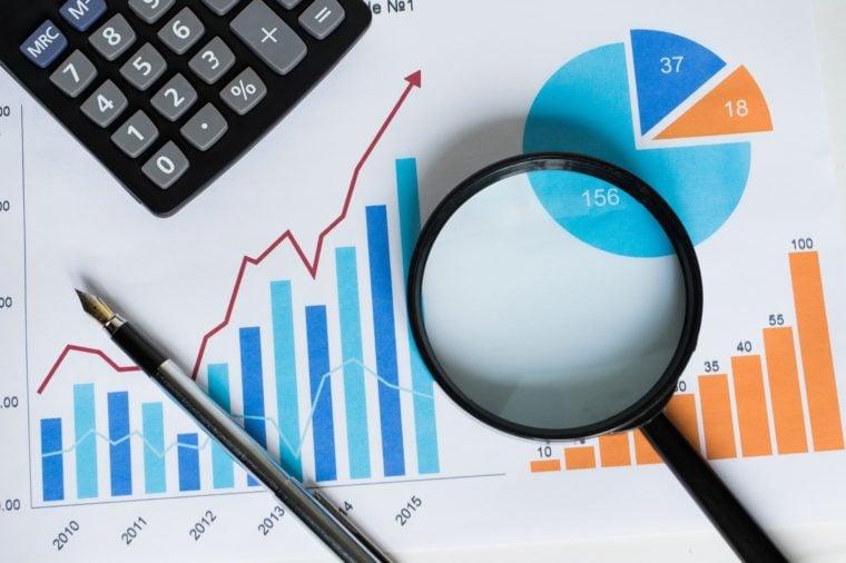 Chart business chart diagram statistic loupe