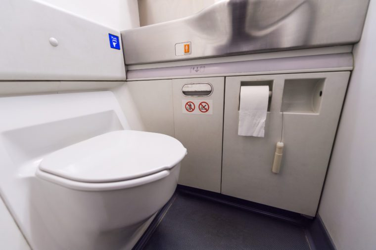 inside airplane bathroom