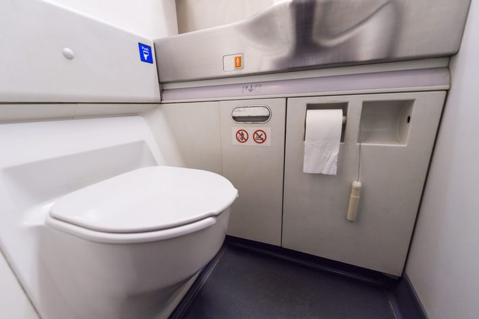 inside airplane bathroom