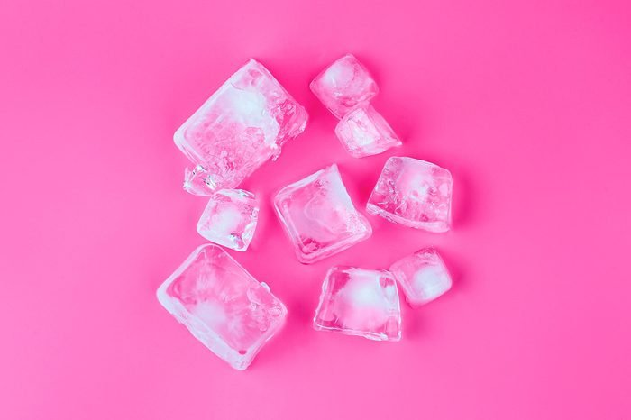 ice on pink background