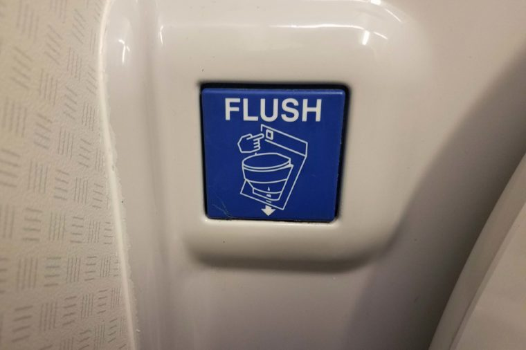 airplane bathroom toilet flush button