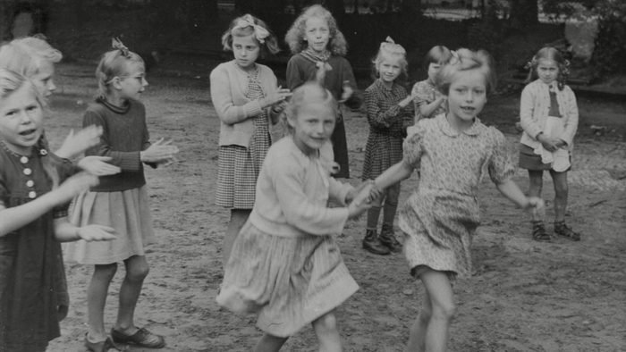 children playing, 1945