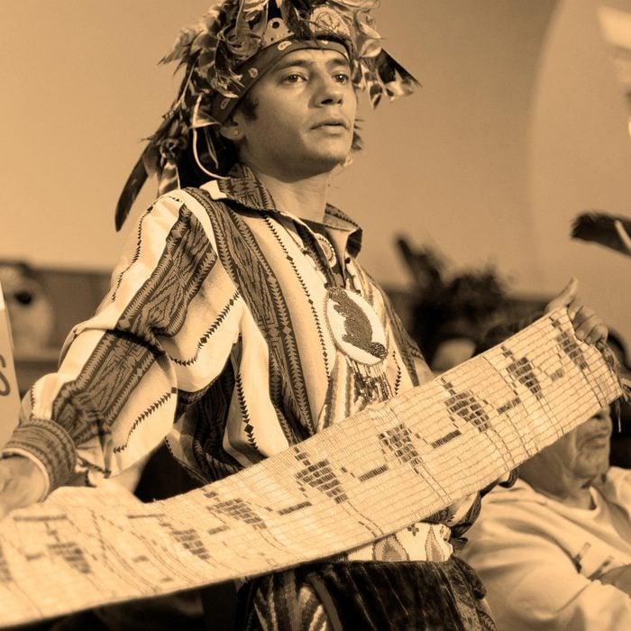 John Parsons, aka Tyhogeñhs, Oren Lyons John Parsons, aka Tyhogeñhs, right, holds a historic wampum belt, that was commissioned by President George Washington ratifying the 1794 Treaty of Canandaigua 15 Apr 2014